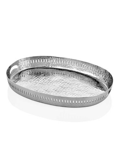 The Mia Sehpa Dekoru Nikel Tepsi Gümüş